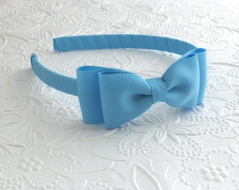 Sky Blue Girls Bow Headband, Plastic Headband for Toddlers, Girls & Adults