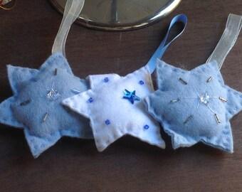 Set of 3 Handmade Felt Stars Tree Hanging Decorations