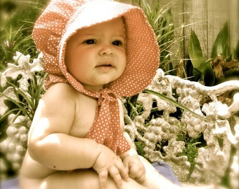 Baby Sun Bonnet pdf pattern and tutorial  sizes 1 to 3 years Instant e-file download