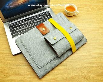 Felt Macbook Pro 13 Sleeve,Macbook Pro 13 Case,Macbook Pro 15 Case,Laptop Bag,Laptop Sleeve,Macbook Air Case,Surface Book 2 15 Case-TFL114