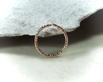 Pink Gold Faceted Nose Ring Pink Gold - Nose Ring, Endless Nose Ring, Continuous Nose Ring, Catchless Nose Ring, Rose Gold Nose Ring, Septum