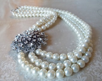 Wedding Jewelry Necklace Sparkly Bridal Jewelry Crystal Pearl Wedding Necklace Rhinestone Necklace Old Hollywood Style Bridal Necklace