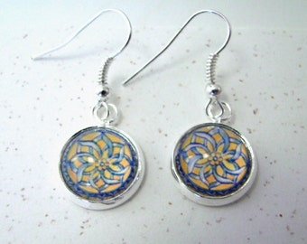 ARABESQUE Sterling Silver Dangle Earrings -- Arabic design taken from the heart of a Spanish tile, Delicate yellow gold, white and blue