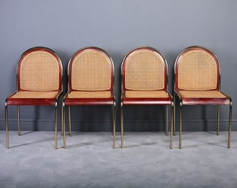 Set of 4 Italian Brass & Cane Chairs,1970s