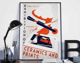 Vintage ART EXHIBITION POSTER, Cubism Style -  Ceramics & Prints Art Show: 24x36 Vintage Art Print Reproduction