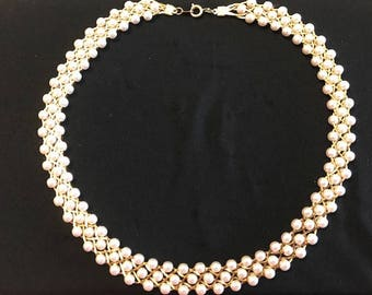 """Vintage Woven Pearl 18"""" Necklace or Choker"""