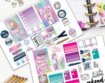Birthday Princess Weekly Planner Sticker Set, CLASSIC Happy Planner Stickers, Weekly Set, Stickers, Printed, Cut, Princess, Girl, Birthday