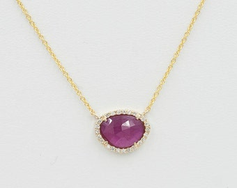 1.42ct. Pink Sapphire Necklace/Diamond Necklace/Pink Sapphire Diamond Necklace/Diamond Halo Necklace/Solid 14k Yellow Gold Necklace