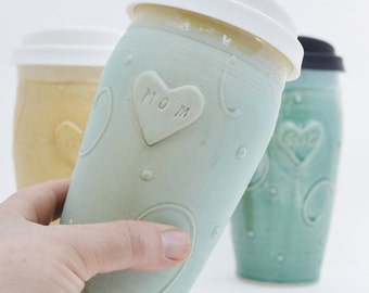 IN STOCK, Mothers Day Travel Mug, Turquoise Mom Ceramic Travel Mug with Lid, Clay To Go Pottery Coffee Mug with Silicone Lid