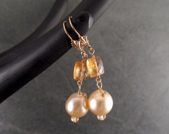 Imperial topaz & South Sea pearl earrings, handmade solid 14k gold earrings-OOAK June and November birthstone jewelry
