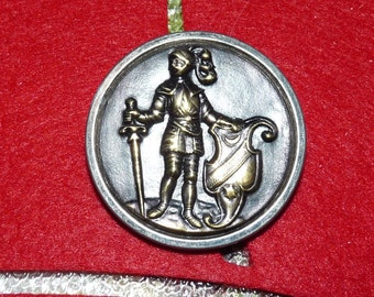 Beautiful Brass and Silver Metal Picture or Story Button of a Knight in Armor