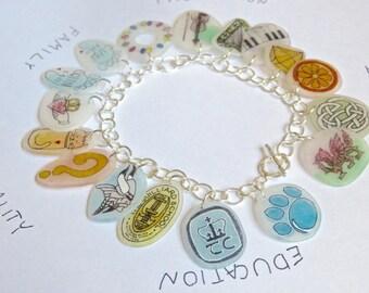 Custom Charm Bracelet- art plastic and sterling silver