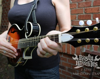 F Style Mandolin Strap, Black Leather Mandolin Strap, Bluegrass, Americana, Roots, Country, Leather Strap, Mandolin, Leather, Traditional