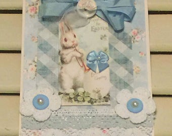 Shabby Easter Card, Vintage Style, Handmade Card, Embellished Card,Greeting Card, OOAK