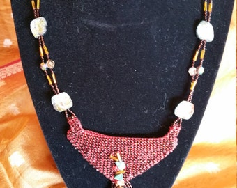 Hand knit cotton Pendant Necklace