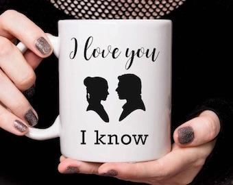 Personalised Ceramic Mug - I Love You / I Know Star Wars Han Solo Princess Leia