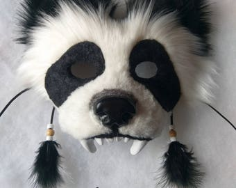 SOLD Spirit/Totem Animal Mask (Panda Bear) (AVAILABLE made to order, see below for details)