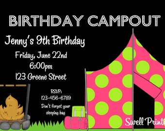 Campout invitation etsy camping birthday party invitation campout birthday invitation camp out girl invitation filmwisefo Image collections