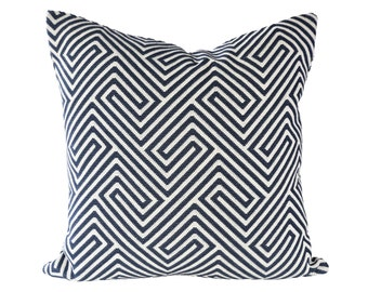 Labyrinth Weave Navy designer pillow covers - Made to Order - Scalamandre