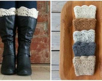 Boot Cuffs, short Leg Warmers, Chunky Knit Boot topper for Women and Teens, Handmade Crocheted Gift under 15