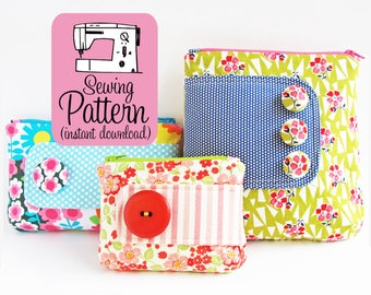 Zip Pouches PDF Sewing Pattern | Sew zipper storage bags in 3 sizes with this intermediate sewing project tutorial.