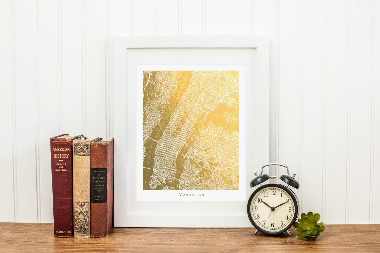 Manhattan Map Manhattan Gold Foil Map™ Map Print Gold Foil