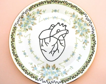 Anatomical Heart repurposed vintage plate love green floral gift medical body decor wall decoration ring dish ash tray jewellery hipster