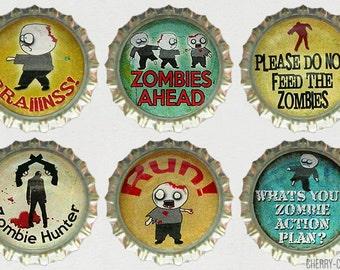 Zombie Magnet Set, 6 Bottle Cap Magnets, boyfriend christmas gift, secret santa gift ideas, zombie gifts, zombie decor, kitchen organization