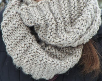 gray scarf cowl scarf hooded wool snood chunky hooded scarf wool chunky textured cowl scarf warm knit cowl women's handmade knit snood cowl