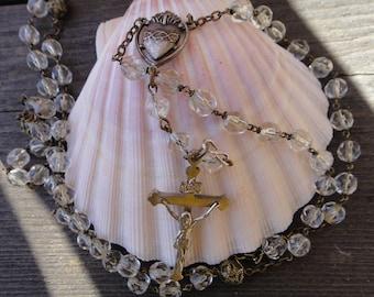 Vintage cut crystal glass Rosary Sacred Heart