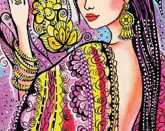 beautiful woman painting Indian decor bride art feminine beauty wall decor art gift, feminine decor, beauty painting print 8x12+