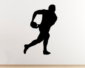 Rugby Player Wall Sticker - Passing the Ball - Sports Wall Art Vinyl Decal