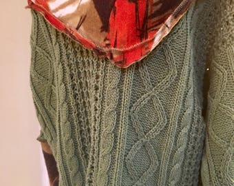 Cottony, Green and  Tomato Funky Sweater. SALE!