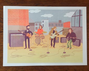 "Riso print: ""Rooftop Beatles"" A3 size Limited Edition Wilm Lindenblatt"