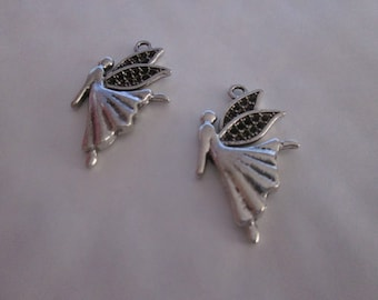 2 dancing fairy metal charms silver 29 x 18 mm
