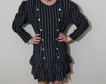 80s Vintage Black and White Striped Dress, Oversized Dress, Double Breasted Pearl Buttons, Size M/L, Spring Dress