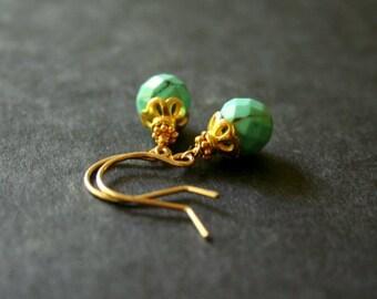 Turquoise Gold Earrings Delicate Gold Drop Earrings