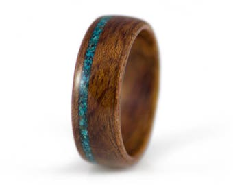 Bubinga Wood Ring With Chrysocolla Stone Inlay. Wood Wedding Ring, Mens Wood Ring, Womens Wood Ring, Wood Engagement Ring, Bent Wood Rings,