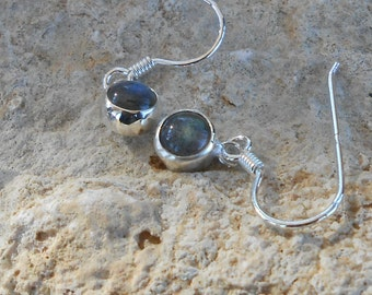 Labradorite earrings, 925 Silver earrings handmade, natural labradorite round 6 mm, gift for her