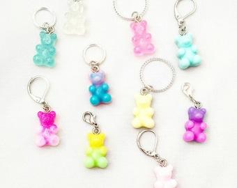 Gummy Bear Stitch Markers// Bear Progress Keepers// Pastel Knitting Markers