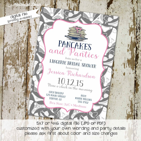pancakes panties lingerie shower Lingerie bachelorette party invitation Stock the bar couples shower Adults only bridal | 326 Katiedid Cards