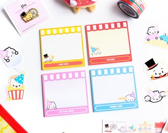 """SET OF 4 // Carnival Sticky Notes - 3""""x3"""" [Square Post-Its, Post-Its, Kawaii Stationery] // """"The Greatest Chow On Earth"""" Collection - P105"""