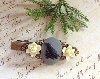 Black Crow And Flower Alligator Hair Clip