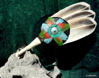 Smudge Fan Turkey Wing Feathers and Macaw Feather Rosette, 18 1/2 in. long with Fringe, 5 in. wide