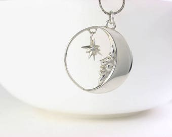 silver Moon Necklace, Silver Moon Jewelry, moon star necklace, Moon Charm Necklace, Luna Necklace, celestial necklace, moon necklace