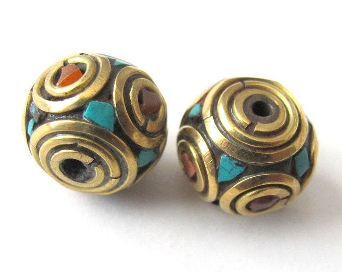 Nepalese brass beads - 2 beads set - BD072