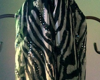 Black and white chiffon scarf...with alittle bling.