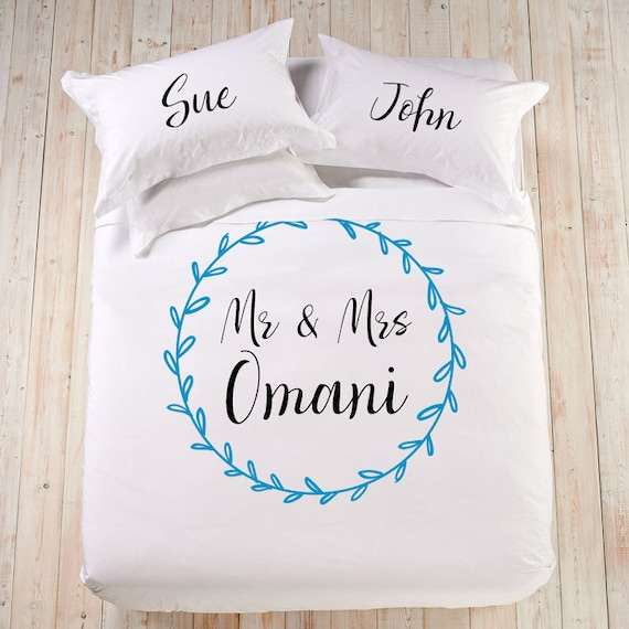Personalized Wedding Gift Bedding Set Mr And Mrs King Queen