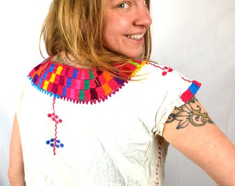 Vintage Embroidered Guatemala Hippie Top Shirt Tunic