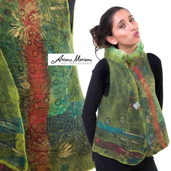 Wearable Art Women Vest - Outstanding Felted Merino Wool Designer Garment -  Reversible Piece Unique  - Convertible Bolero  Green Blue